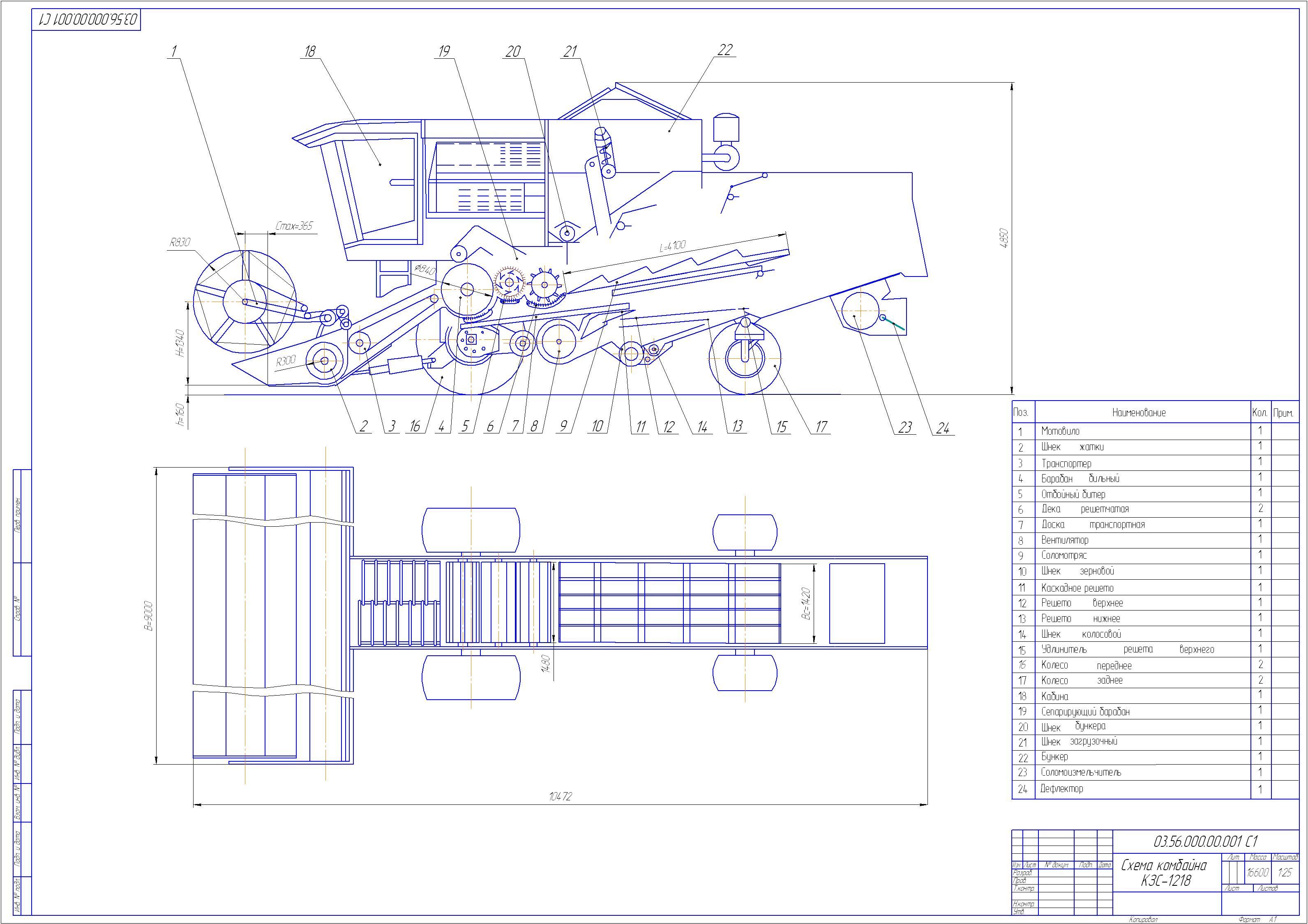 Технические характеристики комбайна Полесье КЗС 1218